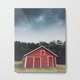 Red Barn and Gray Sky Metal Print