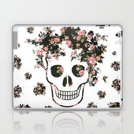 Flower Skull, Floral Skull, Pink Flowers on Human Skull Laptop & iPad Skin