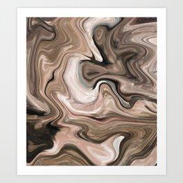 Brown beige watercolor marble Art Print