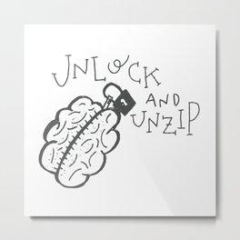 Unlock N Unzip Metal Print