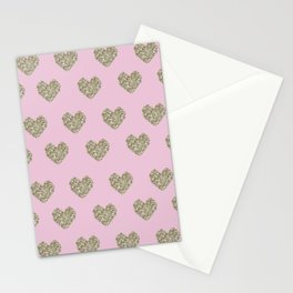 Gold Heart Print Stationery Cards