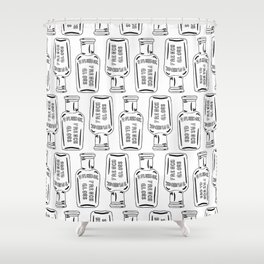 Vintage Bottle Collection Illustrated Repeat Pattern Print Shower Curtain