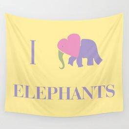 I Heart Elephants Wall Tapestry