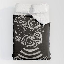 Crinkled Roses in Black & White Striped Vase Comforters