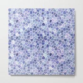 Pale Blue Cobbled Patchwork Terrazo Pattern Metal Print
