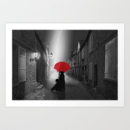 Alone in the rainy night Art Print