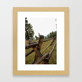 wooden fence in the Rockies Framed Art Print