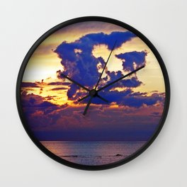 Abstract Clouds over the Sea - The Running Man Wall Clock
