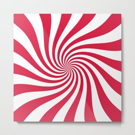 Swirl (Crimson/White) Metal Print