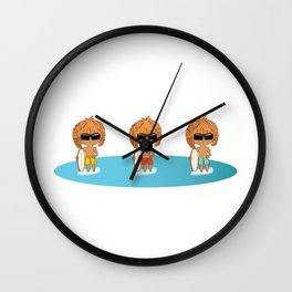 Three Cute Chibi Surfer Boys - Are They Triplets? Wall Clock