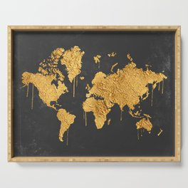 Gold World Map Serving Tray