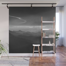 Misty mountains. WB. Yesterday Wall Mural