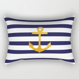 Marine pattern - blue white striped with golden anchor Rectangular Pillow