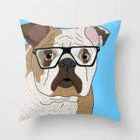 bulldog Throw Pillows featuring bulldog by Ainsley wilson
