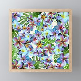 Rainbow Plumeria Pattern Framed Mini Art Print