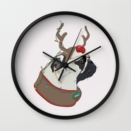 Pug Christmas Wall Clock