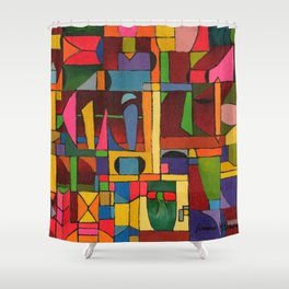 Colors In Collision 1 - Geometric Abstract of Colors that Clash Shower Curtain