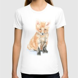 Baby Fox Watercolor Painting - Woodland Animal T-shirt