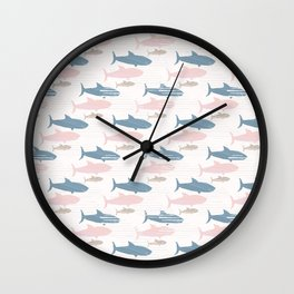 Pink and Blue Kids Cute Shark Silhouette Wave Wall Clock