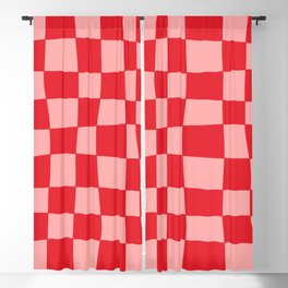 Hand Drawn Checkerboard Pattern (red/pink) Blackout Curtain