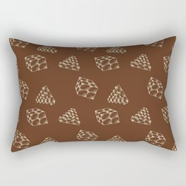 the pyramids and cubes on a brown background . artwork Rectangular Pillow