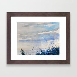 black birds, blue sky Framed Art Print