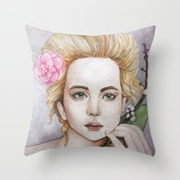 jennifer lawrence Throw Pillows featuring Jennifer Lawrence  by Giulia Colombo