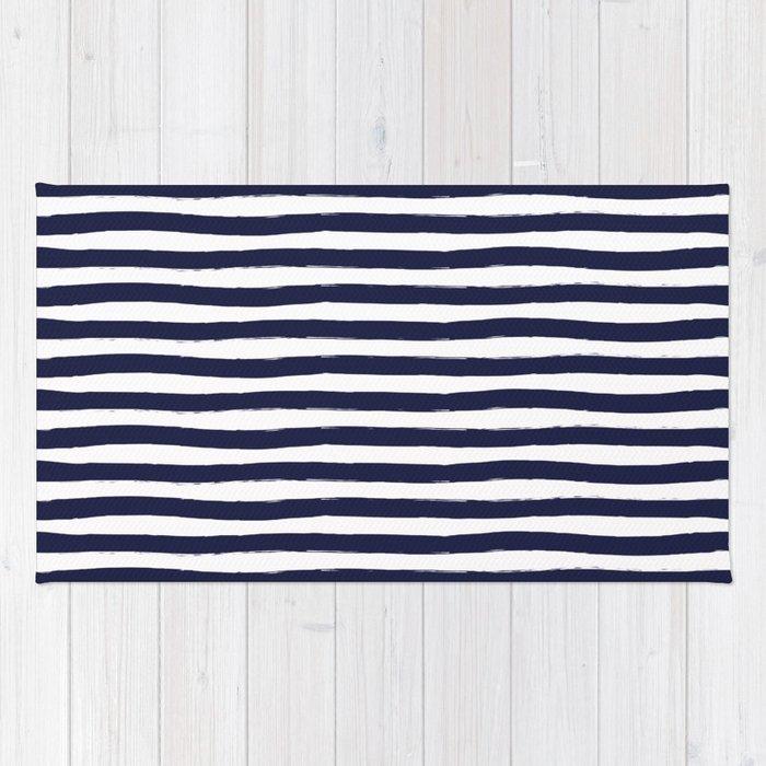 Navy Blue And White Horizontal Stripes Rug By Seafoam12 Society6