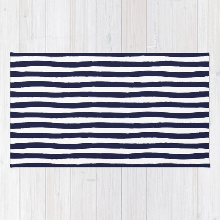 Navy Blue And White Horizontal Stripes Rug By Seafoam12 Society6