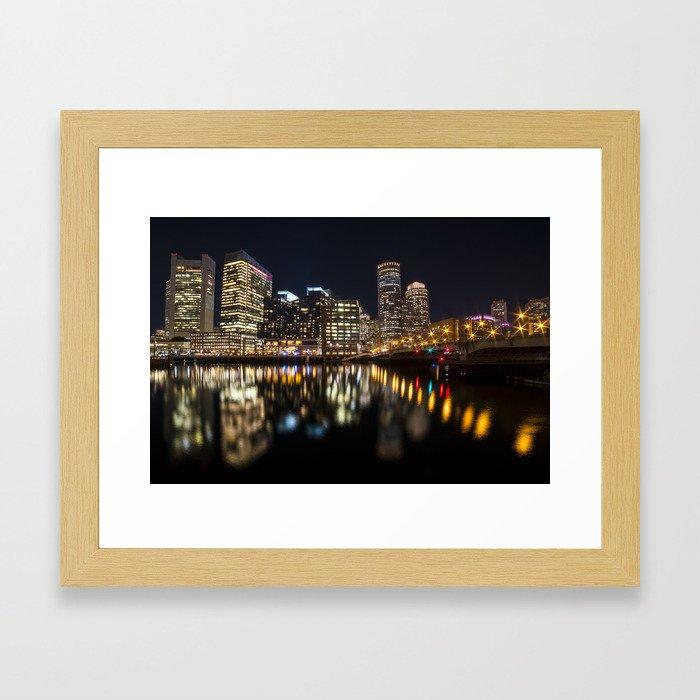 Seaport Bridge Boston Skyline Reflection Boston MA Framed Art Print