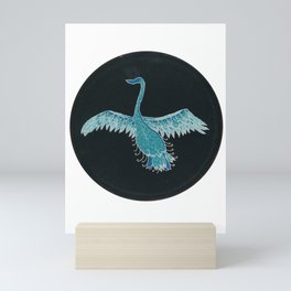 Black swan embroidered patronus Mini Art Print