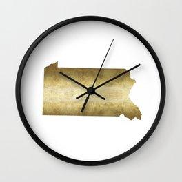 pennsylvania gold foil map Wall Clock