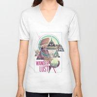 wanderlust V-neck T-shirts featuring Wanderlust by Kristen Williams