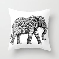 ornate Throw Pillows featuring Ornate Elephant 3.0 by BIOWORKZ