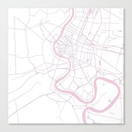 Bangkok Thailand Minimal Street Map - Pastel Pink and White II Canvas Print