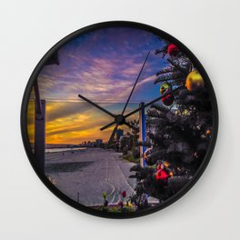 Belmont Shores Christmas Sunset Wall Clock