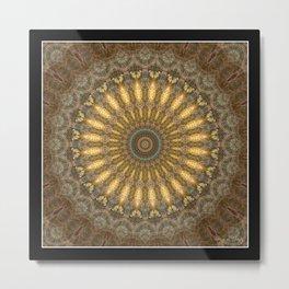 Golden Butterfly Mandala Metal Print