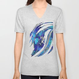 Blue and White Abstract Art - Flowing 2 - Sharon Cummings Unisex V-Neck