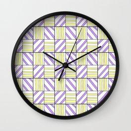 symetric tartan and gingham 15 -vichy, gingham,strip,square,geometric, sober,tartan Wall Clock