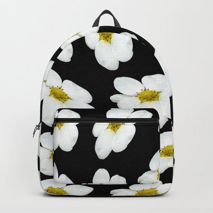 White flowers on a black background #Society6 #buyart Backpack