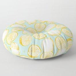 Lemons On Turquoise Background Floor Pillow