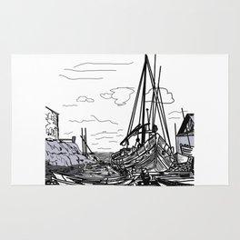 boats on the sea . artwork Rug