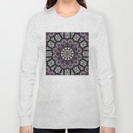 Mandala in black and white with hint of purple and green Long Sleeve T-shirt