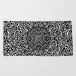 Zen Black and white mandala Sophisticated ornament Beach Towel