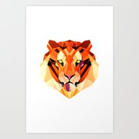 low poly Art Prints featuring Low Poly Tiger by Evan Smith
