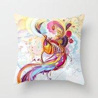 phoenix Throw Pillows featuring Phoenix by Nick La