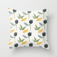 floral pattern Throw Pillows featuring Floral Pattern by Mark Conlan
