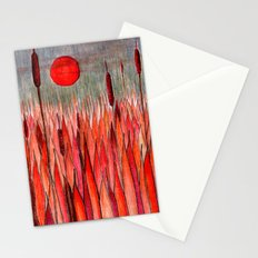 Sunset Over the Cattail Field Stationery Cards