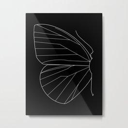 Butterfly Minimal Black Metal Print
