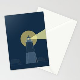Lighthouse at Night Beach Decor Illustrated Print Stationery Cards